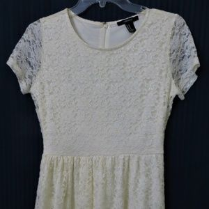 Forever 21 Cream Lace Fit and Flare Skater Dress